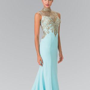 High Neck Beaded Bodice Long Prom Dress GL2322